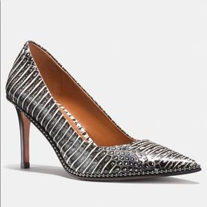 Coach Beadchain Pump in Snakeskin- black and white